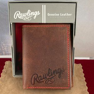 Rawlings Brown tri-fold Wallet with Red Stitching